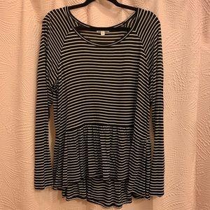 // bp striped peplum long sleeve tee //
